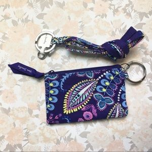 NWT Vera Bradley Zip ID + Lanyard Batik Leaves
